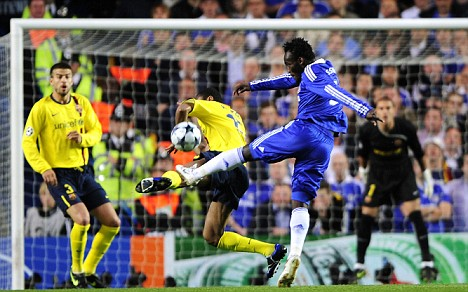 Chelsea's Essien scores against Barcelona during their Champions League soccer match in London